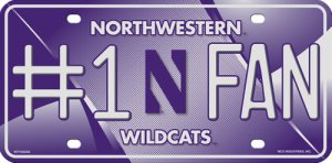 Northwestern Wildcats #1 Fan Metal License Plate