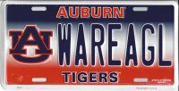 Auburn Tigers WAREAGL Metal License Plate