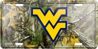 West Virginia Mountaineers Camo Embossed Metal License Plate
