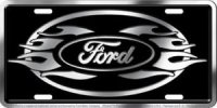 Ford Logo Flames License Plate
