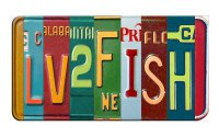 LUV2FISH Cut Style Metal Art License Plate