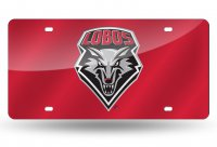 New Mexico Lobos Red Laser License Plate