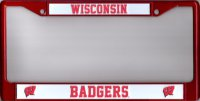 Wisconsin Badgers Red Metal License Plate Frame