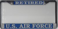 U.S. Air Force Retired Chrome License Plate Frame