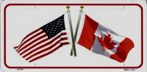 United States And Canada Crossed Flags Metal License Plate