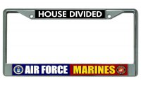 Air Force Marines House Divided Chrome License Plate Frame