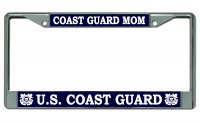 U.S. Coast Guard Mom Chrome License Plate Frame