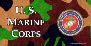 U.S. Marine Corps On Camouflage Photo License Plate
