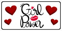 Girl Power With Hearts Photo License Plate