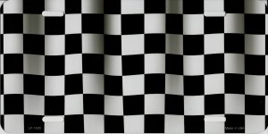 Checkered Flag Metal License Plate