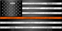 American Flag Thin Orange Line Metal License Plate