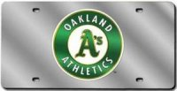 Oakland Athletics Silver Laser License Plate
