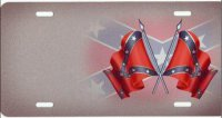 Double Confederate Flag Offset Airbrush License Plate