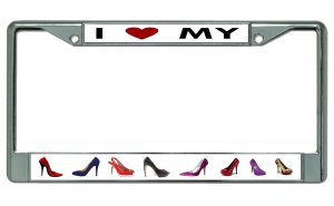 I Heart My SHOES Chrome License Plate Frame