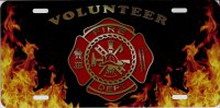 Fire Dept. Flames Volunteer Airbrush License Plate