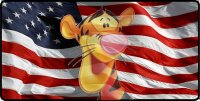 Tigger Face Transparent Logo On Flag Photo License Plate