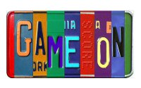 GAME ON Cut Style Metal Art License Plate