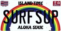 Surfsup Hawaii Metal License Plate