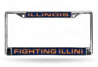 Illinois Fighting Illini Laser Chrome License Plate Frame