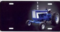 Blue Tractor on Black Airbrush License Plate