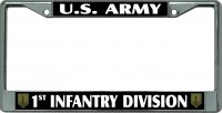 U.S. Army 1st Infantry Division Chrome License Plate Frame