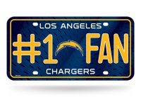 Los Angeles Chargers #1 Fan Metal License Plate