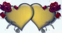 Double Hearts with Roses Yellow on White Airbrush Plate