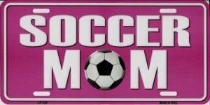 SOCCER Mom Pink Metal License Plate
