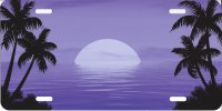 Beach Scene Purple Airbrush License Plate