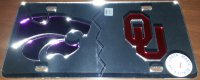 Kansas/ OU House Divided Silver Laser Plate