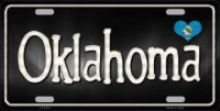 Oklahoma Flag Script Metal License Plate