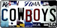 Cowboys Strip Art Metal License Plate