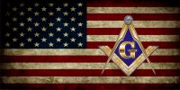 Free Mason On Worn U.S. Flag Photo License Plate