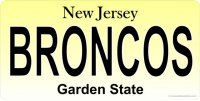 NJ Broncos Photo License Plate