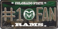 Colorado State Rams #1 Fan Metal License Plate