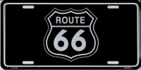 Route 66 Sign On Black Metal License Plate
