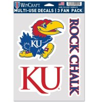 Kansas Jayhawks 3 Fan Pack Decals