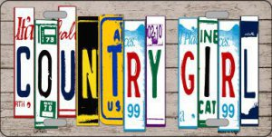 Country Girl Cut Style Metal License Plate