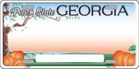 Georgia State Background Metal License Plate