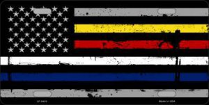 American FLAG With Police Fire EMS Stripes Metal License Plate