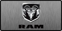 Dodge Ram Logo 3D Look Flat Photo License Plate
