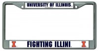 University Illinois Fighting Illini Chrome License Plate Frame