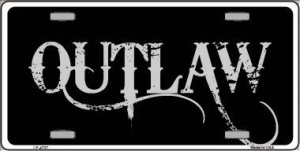 Outlaw Metal License Plate