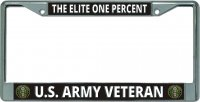 Elite One Percent U.S. Army Veteran Chrome License Plate Frame