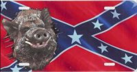 Boar Offset on Rebel Flag License Plate