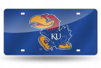 Kansas Jayhawks Blue Laser License Plate