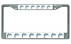 Dolphins On White Background Chrome License Plate Frame