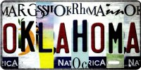 Oklahoma Strip Art Metal License Plate