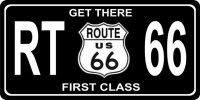 Get There First Class Route 66 Black Photo License Plate