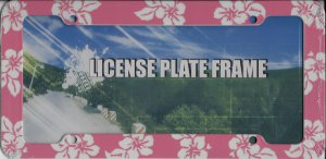 Tropical Hibiscus Flower Rose Pink Plastic License Plate Frame